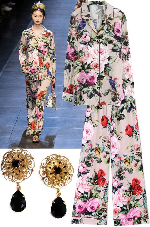"<p>Pajama's are no longer reserved for the bedroom.</p><p><em><strong>Dolce & Gabbana</strong> earrings, 5, <strong><a href=""https://shop.harpersbazaar.com/designers/d/dolce-and-gabbana/earrings-8710.html"" target=""_blank"">shopBAZAAR.com</a></strong>; <strong>Dolce & Gabbana</strong> printed top, ,595, <strong><a href=""https://shop.harpersbazaar.com/designers/d/dolce-and-gabbana/long-sleeve-shirt-8716.html"" target=""_blank"">shopBAZAAR.com</a></strong>; <strong>Dolce & Gabbana</strong> printed pant, ,595, <strong><a href=""https://shop.harpersbazaar.com/designers/d/dolce-and-gabbana/pink-floral-printed-pant-8618.html"" target=""_blank"">shopBAZAAR.com</a></strong><span class=""redactor-invisible-space"">.</span></em><em> </em><br></p>"