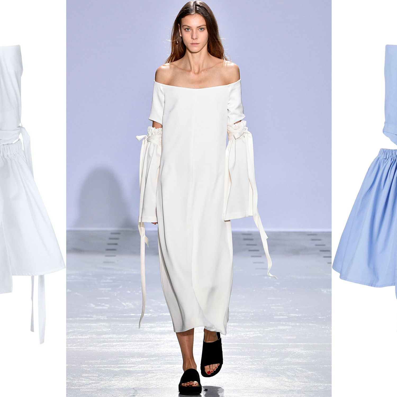 "<p>The most effortless way to show some skin this season is with an off-the-shoulder top. Opt for one with some additional detail to ensure you stand out from the crowd.</p><p><em><strong>Ellery</strong> off-the-shoulder top in white, $700, <strong><a href=""https://shop.harpersbazaar.com/designers/e/ellery/off-shoulder-elbow-cut-top-9008.html"" target=""_blank"">shopBAZAAR.com</a></strong>&#x3B; <strong>Ellery</strong> off-the-shoulder top in blue, $700, <strong><a href=""https://shop.harpersbazaar.com/designers/e/ellery/off-shoulder-elbow-cut-top-blue-8989.html"" target=""_blank"">shopBAZAAR.com</a></strong>. </em></p>"