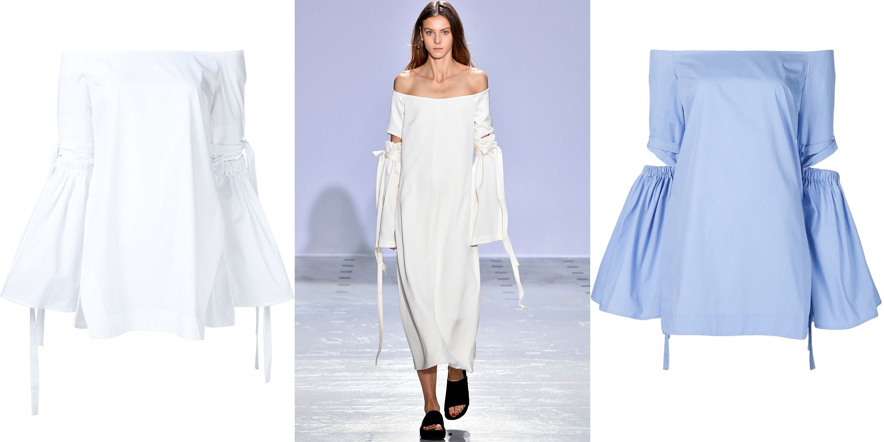 "<p>The most effortless way to show some skin this season is with an off-the-shoulder top. Opt for one with some additional detail to ensure you stand out from the crowd.</p><p><em><strong>Ellery</strong> off-the-shoulder top in white, $700, <strong><a href=""https://shop.harpersbazaar.com/designers/e/ellery/off-shoulder-elbow-cut-top-9008.html"" target=""_blank"">shopBAZAAR.com</a></strong>; <strong>Ellery</strong> off-the-shoulder top in blue, $700, <strong><a href=""https://shop.harpersbazaar.com/designers/e/ellery/off-shoulder-elbow-cut-top-blue-8989.html"" target=""_blank"">shopBAZAAR.com</a></strong>. </em></p>"