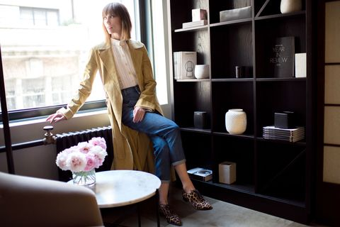 "<p>""This is an ideal spring day look for me, an easy trench and a light blouse that oozes new. I'm also very into high waisted jeans right now, Closed makes the best.""<br></p><p><em>Derek Lam trench and blouse; Closed jeans; Christian Louboutin shoes.</em></p>"