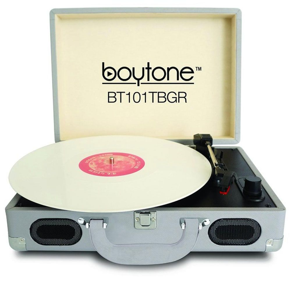 "<p><strong>Boytone</strong> turntable, $129, <a href=""http://boytone.com/product/portable-turntable-101gray/"" target=""_blank"">boytone.com</a>.</p>"