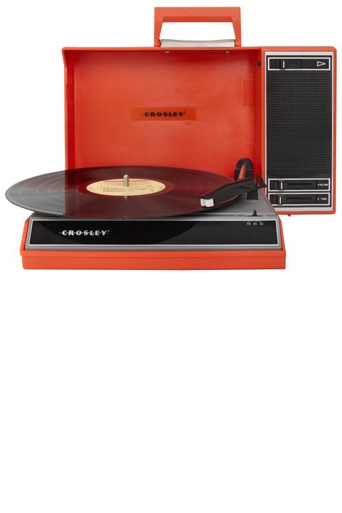 "<p><strong>Crosley</strong> turntable, $149.95, <a href=""http://www.crosleyradio.com/turntables/product-details?productkey=CR6016A&model=CR6016A-RE"" target=""_blank"">crosleyradio.com</a>.</p>"