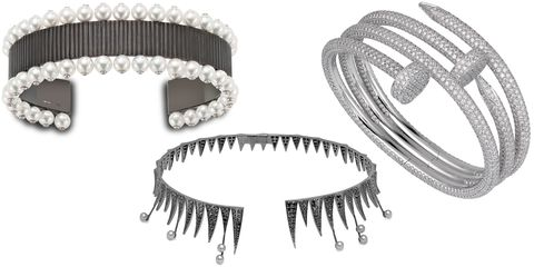 """<p>Fine jewels with a tough side–like black diamonds, dagger finishes and edgy motifs–are right for the bride looking for more of a fashion moment than a fairy tale feel.</p><p><br></p><p><em><strong>Solange</strong> 'Chromophobe' bangle, price upon request, <a href=""""http://solange.co.uk"""" target=""""_blank"""">solange.co.uk</a>; <strong>Colette</strong> black diamond and pearl-tipped choker, $9,280, <a href=""""http://colettejewelry.com"""" target=""""_blank"""">colettejewelry.com</a>; </em><em><strong>Cartier</strong> 'Juste un Clou' bracelet in 18k white gold and diamonds, price upon request, <a href=""""http://www.cartier.us  """" target=""""_blank"""">cartier.us</a>.</em></p>"""