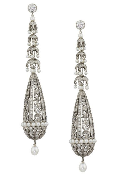 """<p>If you lack an heirloom to wear down the aisle but are after something vintage in feel, a piece of estate jewelry with historical significance is the chic way to go about <em>Something Borrowed</em>. </p><p><br></p><p><em><strong>Stephen Russell </strong>diamond and pearl earrings</em><em>, price upon request, <a href=""""http://stephenrussell.com/"""" target=""""_blank"""">stephenrussell.com</a></em>.</p>"""