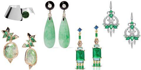 "<p>While <em>Something Blue</em> will always be a requisite bridal extra, green baubles compliment most eye colors as well as gowns from traditional to super-sleek.</p><p><br></p><p><em><strong>Delfina Delettrez</strong> collar, $780, +44 20 7629 5550</em><em>;  Nak Armstrong </em> <em>one-of-a-kind emerald earrings, $12,850,<i> </i><i><a href=""https://urldefense.proofpoint.com/v2/url?u=http-3A__barneys.com_&d=CwMFaQ&c=B73tqXN8Ec0ocRmZHMCntw&r=iYoypbJHPJkkAA_QaL8TkLxamyo1COLT2IcLoKY6r5w&m=dYZ8qBpdYeZDgBw19olQmeId90xVtJVRm0mUHKyc0LU&s=ScAsG7FDGQU-uAXFQ4V69117tVP9gMPco3_yShjUDAA&e="">barneys.com</a>;</i> <strong>Fred Leighton</strong> jade drop earrings, $7,815, <a href=""https://www.net-a-porter.com/us/en/product/741986/Fred_Leighton/collection-18-karat-white-gold-multi-stone-earrings"" target=""_blank"">net-a-porter.com</a>; <strong>Jane Taylor Jewelry</strong> emerald tassel earrings with blue sapphires, vivid yellow diamonds, champagne diamonds and aquamarine, $132,000, <a href=""http://www.janetalor.com/shop http://www.janetaylor.com/shop/e942-emerald-tassel-earrings-with-sapphire-aquamarine-diamonds"" target=""_blank"">janetaylor.com</a>; <strong>Stephen Webster </strong>chandelier e</em><em>arrings, $30,000, </em><em>310.246.9500.</em></p><p><span></span></p>"