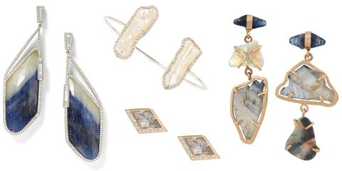 """<p>Diamond slices, mother of pearl, rutilated quartz and raw stones feel undeniably boho, but the fine nature of these pieces still feel polished for a more formal approach to dressing for the beach, the desert or a woodland wedding.</p><p><br></p><p><em><strong>Monique Pean</strong> blue striped sapphire slice and white diamond earrings, $25,890, <a href=""""http://barneys.com"""" target=""""_blank"""">barneys.com</a>; <strong>Kimberly McDonald</strong> white gold, pearl and diamond cuff, $8,930, <a href=""""https://www.net-a-porter.com/us/en/product/714712/kimberly_mcdonald/18-karat-white-gold--pearl-and-diamond-cuff"""" target=""""_blank"""">net-a-porter.com</a>, <strong>AZLEE</strong> diamond slice studs, $3,810, <a href=""""http://azleejewelry.com/"""" target=""""_blank"""">azleejewelry.com</a>; <strong>Melissa Joy Manning</strong> raw sapphire and opal earrings, $4,175, <a href=""""https://www.net-a-porter.com/us/en/product/646301/Melissa_Joy_Manning/14-karat-gold-sapphire-and-opal-earrings"""" target=""""_blank"""">net-a-porter.com</a>.</em></p><p><br></p>"""