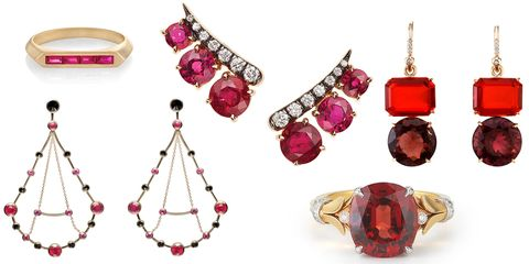 """<p>Julia Robert's role in <em>Pretty Woman</em> put rubies on the map, and the bold-toned stone is a hot alternative to cool-hued extras. These are the timeless, sparkling alternatives to a bold lipstick choice or a scarlet manicure; trust us, opt for rich garnet baubles and nude nails instead. </p><p><br></p><p><em><strong>Lizzie Mandler </strong>ruby baguette band, $1,150, <a href=""""http://lizziemandler.com"""" target=""""_blank"""">lizziemandler.com</a>; <strong>Ara Vartanian</strong>  yellow gold earrings with rubies and inverted black diamonds, $17,800, email info@<a href=""""http://www.ara.com.br/"""" target=""""_blank"""">ara.com.br</a>; <strong>Jemma Wynne</strong> rose gold ruby and diamond ear climbers, $5,880, available at <a href=""""https://urldefense.proofpoint.com/v2/url?u=https-3A__www.shopsinglestone.com_&d=CwMFaQ&c=B73tqXN8Ec0ocRmZHMCntw&r=iYoypbJHPJkkAA_QaL8TkLxamyo1COLT2IcLoKY6r5w&m=O2LRacdSmr_AFSw3w_BIDfWTTH5AaxVK9n6wubYqG0E&s=l-rm_TCq_XN4gd0k4QoRybw6x2RblyNfK5BYqtiUrIY&e="""">shopsinglestone.com</a>; <strong>Irene Neuwirth </strong>fire opal and pink tourmaline earrings, $14,180, <a href=""""https://shop.harpersbazaar.com/designers/i/irene-neuwirth/fire-opal-pink-tourmaline-earrings-5141.html"""" target=""""_blank"""">shopbazaar.com</a>; </em><em><strong>McTeigue & McClelland</strong> ruby and yellow gold engagement ring, price upon request, <a href=""""http://www.mc2jewels.com/"""" target=""""_blank"""">mc2jewels.com</a>.</em></p>"""