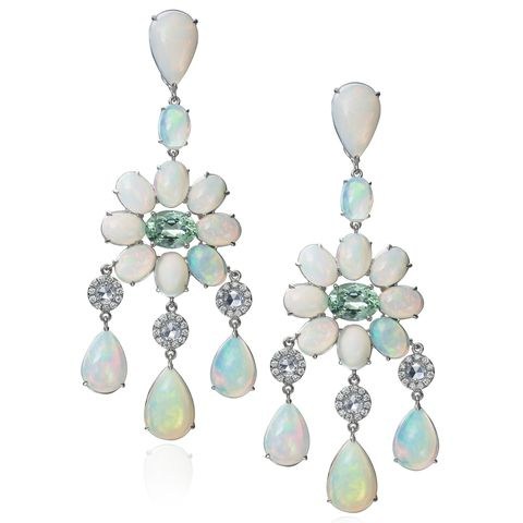 """<p>Moonstones (and opals) pick up subtle color variations in soft-colored gowns–from blush to champagne to platinum grey–and feel a bit more fresh than classic diamonds.</p><p><br></p><p><em><strong>Nina Runsdorf </strong>earrings in 18K white gold, blue moonstone and rose-cut diamonds with pavé diamonds, </em><em>$29,150, <a href=""""http://justoneeye.com/"""" target=""""_blank"""">justoneeye.com</a>.</em></p>"""