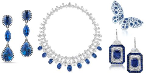 """<p>A sentimental 'something' can be both thoughtful and meaningful on the day-of, but a bold sapphire statement will likely result in awe-inspired gasps and dropped jaws rather than happy tears.</p><p><br></p><p><em><strong>McTeigue & Mclelland</strong> sapphire and white diamond earrings, price upon request, <a href=""""http://mc2jewels.com"""" target=""""_blank"""">mc2jewels.com</a>; <strong>Harry Winston</strong> Incredibles sapphire and diamond necklace set in platinum, price upon request, 212.399.1000<span class=""""redactor-invisible-space"""">; <strong>Tiffany & Co. </strong>butterfly brooch with black opals, Montana sapphires and diamonds set in platinum, $110,000,<a href="""" tiffany.com"""" target=""""_blank"""">tiffany.com</a>; <strong>Martin Katz </strong>sapphire and diamond drop panel earrings, price upon request, <a href=""""http://martinkatz.com"""" target=""""_blank"""">martinkatz.com</a>.</span></em></p>"""