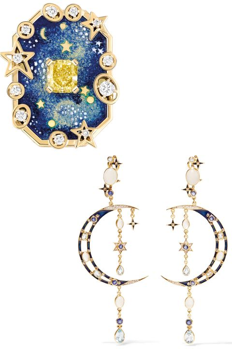 """<p>Celestial-inspired jewelry feels as romantic as a floral motif, but with an element of whimsy–and a cheeky nod to your dreams of the perfect day.</p><p><br></p><p><em><strong>CHANEL Fine Jewelry</strong> 'Vendôme Comète' ring in yellow gold and """"grand feu"""" enamel set with a 1.5 carat cushion cut yellow diamond and brilliant cut diamonds, price upon request, </em><em><a href=""""http://www.chanel.com/en_US/"""" target=""""_blank"""">chanel.com</a>; <strong>Percossi Papi </strong>chandelier earrings, $1,400, <a href=""""https://www.net-a-porter.com/us/en/product/692181/Percossi_Papi/gold-plated-multi-stone-earrings"""" target=""""_blank"""">net-a-porter.com</a>.</em></p>"""