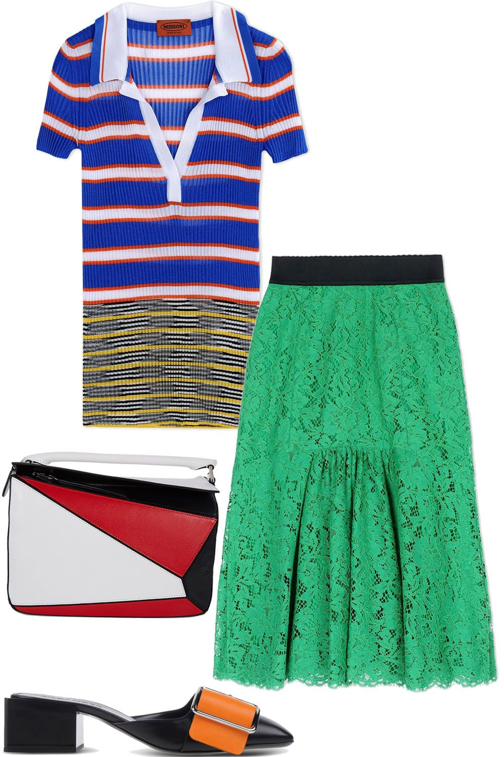 """<p>Don't fear color, it's spring after all. When it comes to the nine-to-five, opt for separates and accessories that can add just a hint of hue.</p><p><br></p><p><em><strong>Missoni</strong> top, $860, <strong><a href=""""https://shop.harpersbazaar.com/designers/m/missoni/short-sleeve-striped-polo-8859.html"""" target=""""_blank"""">shopBAZAAR.com</a></strong></em><em>&#x3B; <strong>Dolce & Gabbana</strong> skirt, $2,295, <strong><a href=""""https://shop.harpersbazaar.com/designers/d/dolce-and-gabbana/green-lace-skirt-9011.html"""" target=""""_blank"""">shopBAZAAR.com</a></strong>&#x3B; <strong>Jil Sander</strong> sandal, $680, <strong><a href=""""https://shop.harpersbazaar.com/designers/j/jil-sander/black-and-orange-buckle-slip-on-9004.html"""" target=""""_blank"""">shopBAZAAR.com</a></strong></em><span class=""""redactor-invisible-space""""><em>&#x3B; <strong>Loewe</strong> bag, $2,450, <strong><a href=""""https://shop.harpersbazaar.com/designers/l/loewe/black-red-and-white-puzzle-bag-8779.html"""" target=""""_blank"""">shopBAZAAR.com</a></strong></em><span class=""""redactor-invisible-space""""><em>.</em></span></span></p>"""