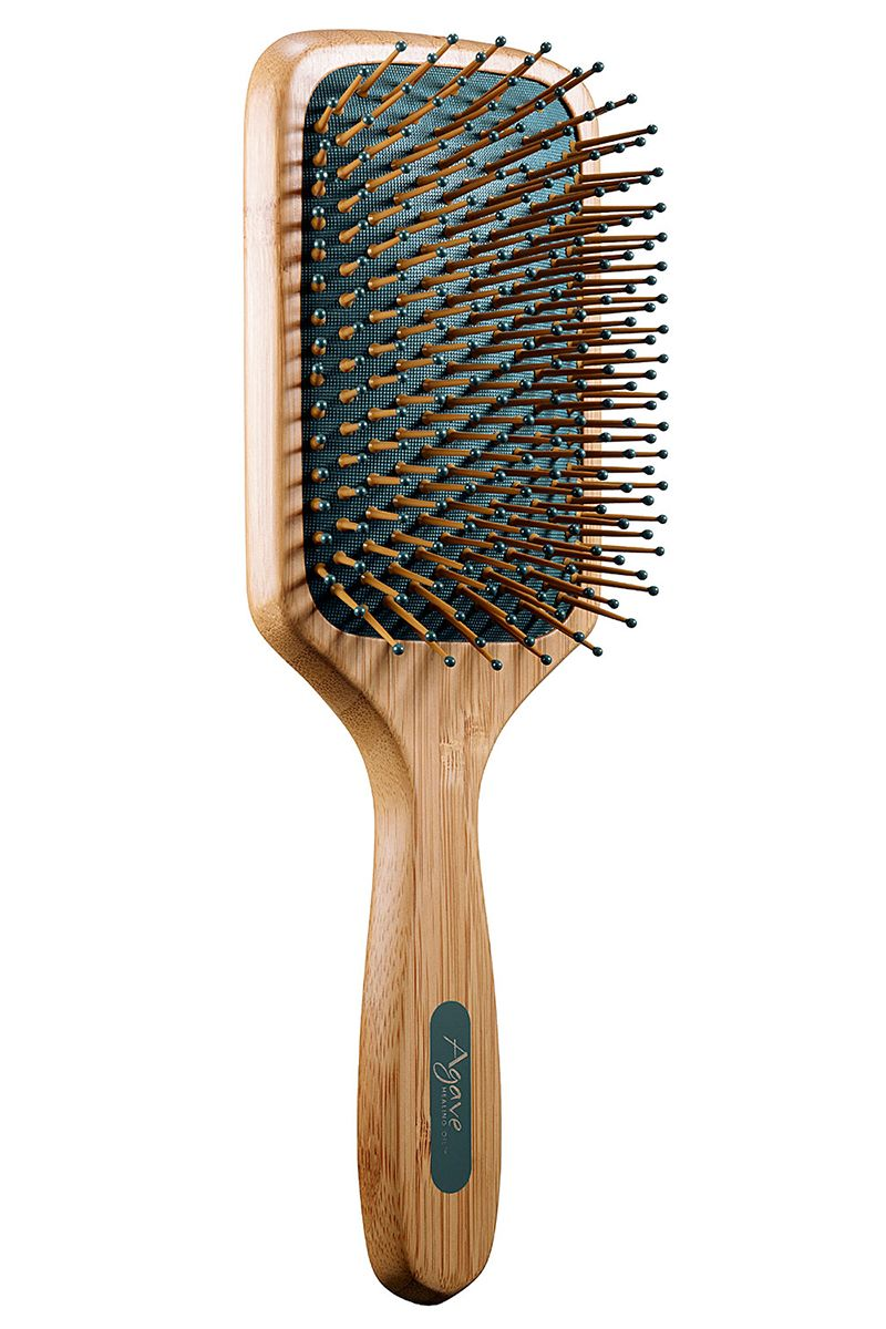 """<p>For your shiniest hair ever, run a light serum or a couple of drops of oil through strands before brushing down the length. </p><p><strong>Agave</strong> Healing Oil Natural Bamboo Paddle Brush, $25, <a href=""""http://www.sephora.com/agave-healing-oil-natural-bamboo-paddle-brush-smooth-shine-P388110?skuId=1629443&icid2=category%20search_tools%20&%20brushes:hair%20tools:hair%20brushes%20&%20combs_p388110_image"""" target=""""_blank"""">sephora.com</a>. </p>"""