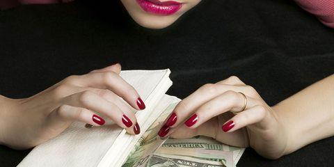 Finger, Lip, Skin, Nail, Hand, Wrist, Nail care, Carmine, Paper product, Fashion,