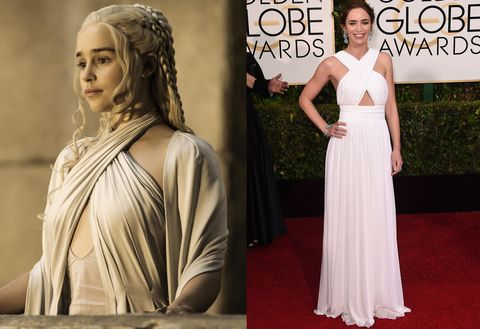 <p><strong>Daenerys Targaryen: </strong>Overlooking her kingdom in Meereen</p><p><strong>Emily Blunt:</strong> In Michael Kors at the 2015 Golden Globes</p>