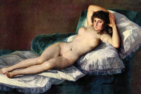 <p>Francisco Goya paints <i>La maja desnuda</i>, a fully nude woman with pubic hair. Spanish society is enraged. </p>