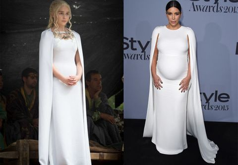 <p><strong>Daenerys Targaryen: </strong>Dressed up at a fighting pit match</p><p><strong>Kim Kardashian: </strong>In Valentino in 2015</p>
