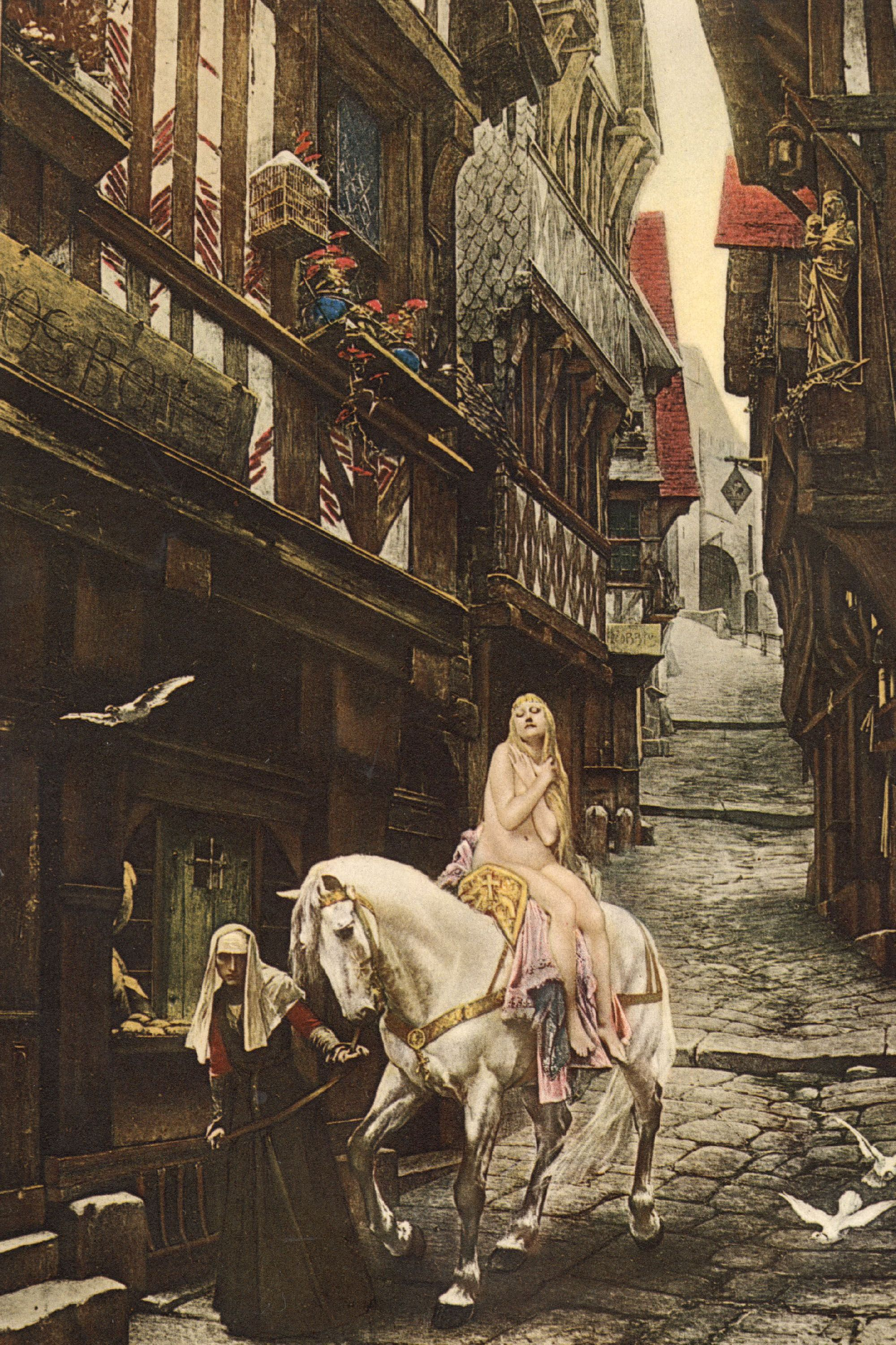 <p>Lady Godiva rides a horse naked through the streets of Coventry to protest her husband's tax policies. </p>