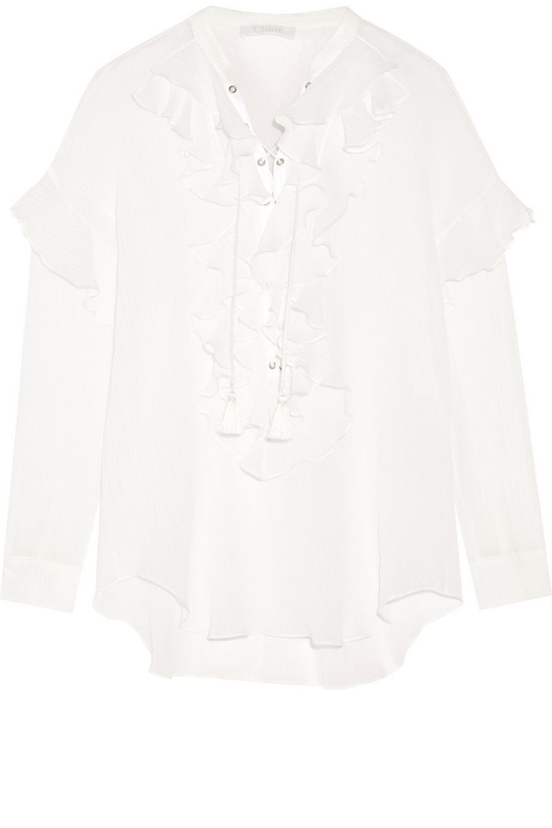 "<p><strong>Chloe</strong> top, $1,495, <a href=""https://www.net-a-porter.com/product/650794/Chloe/ruffled-lace-up-cotton-gauze-blouse"" target=""_blank"">shopBAZAAR.com</a>.</p>"