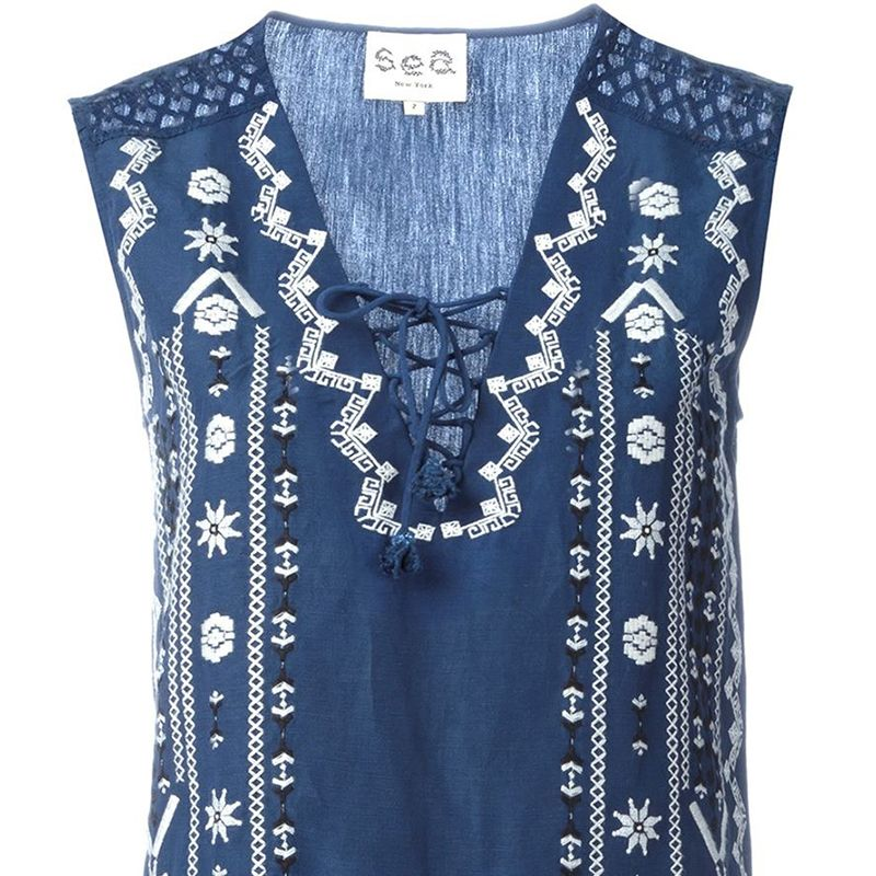 """<p><strong>Sea </strong>top, $337, <a href=""""http://www.farfetch.com/shopping/women/sea-embroidered-lace-up-top-item-11363246.aspx?storeid=9727&ffref=lp_pic_1_2_"""" target=""""_blank"""">farfetch.com</a>.</p>"""