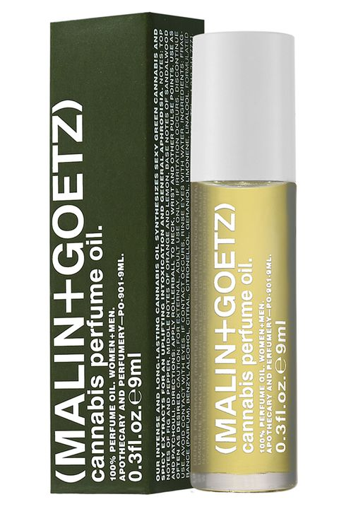 "<p>For a synthetic trip, roll this spicy blend of fig, pepper, citrus and patchouli on your pulse points. </p><p><em>Malin + Goetz Cannabis Perfume Oil, $50, <a href=""https://www.malinandgoetz.com/perfumery/856571005070-cannabis-perfume-oil"" target=""_blank"">malinandgoetz.com</a>.</em></p>"