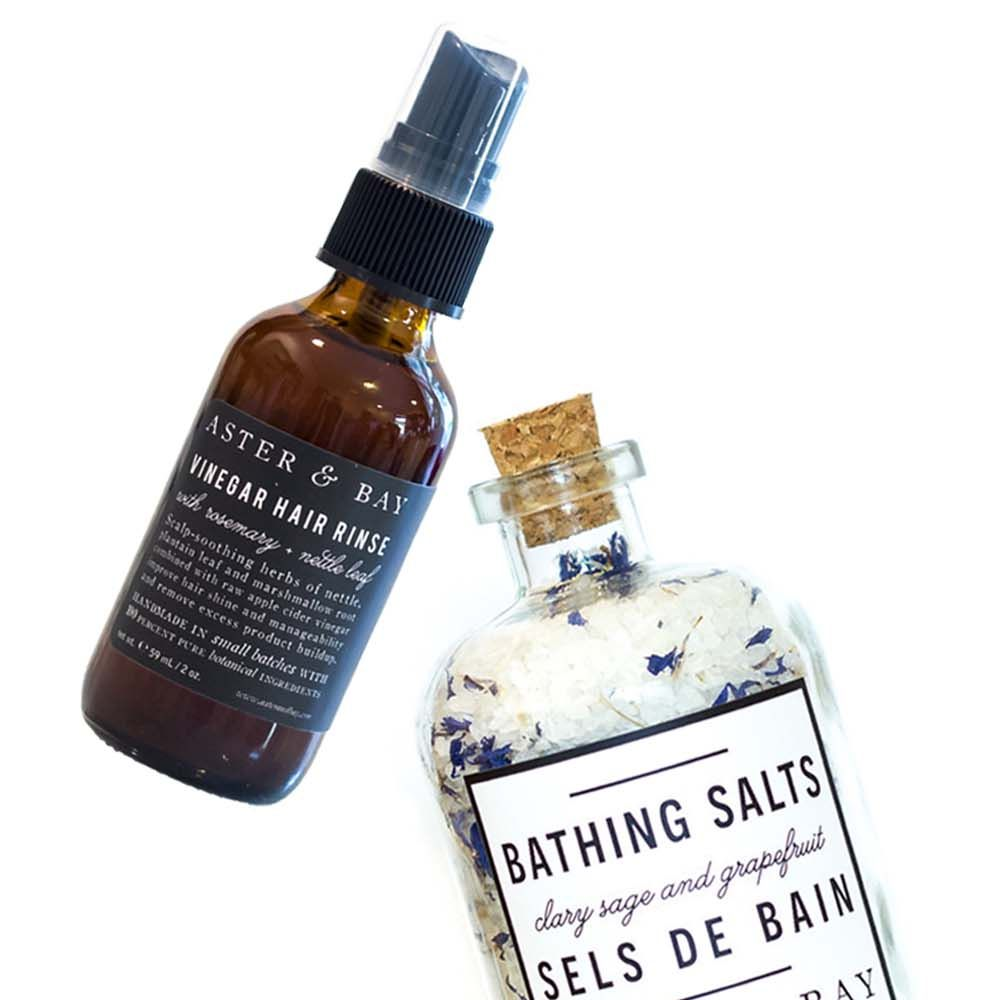 "<p>Inspired by Scottish craft preservation methods, herbal alchemy and plant folklore, this mom-and-pop brand out of Atlanta offers chemical- and- preservative-free products that come in beautiful recycled glass bottles. </p><p><strong>Aster + Bay</strong> Vinegar <a href=""http://asterandbay.com/products/vinegar-hair-rinse-rosemary-nettle"" target=""_blank"">Hair Rinse</a>, $18&#x3B; Clary Sage + Grapefruit <a href=""http://asterandbay.com/products/bathing-salt-clary-sage-grapefruit"" target=""_blank"">Bathing Salts</a>, $32&#x3B; and Beet Root + Hibiscus <a href=""http://asterandbay.com/products/lip-stain-beet-root-hibiscus"" target=""_blank"">Lip Stain</a>, $10, <a href=""http://asterandbay.com/"" target=""_blank"">asterandbay.com</a>.  </p>"