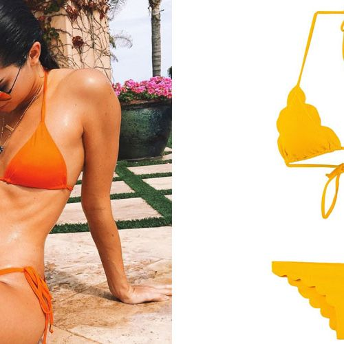 "<p>Kendall Jenner makes the case for a block-color bikini in a seasonal citrus shade. Cocktails, please!</p><p><br></p><p>        <em><strong>Marysia</strong> ""Broadway"" bikini, $285, shopBAZAAR.com. </em><br></p>"