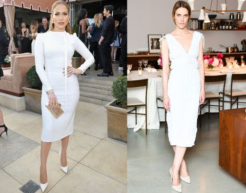 <p>Jennifer Lopez and Vanessa Traina (in Altuzarra) sell the slim, midi dress—both paired with white heels.</p>