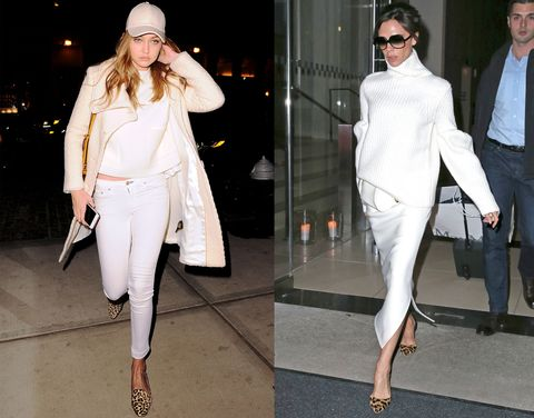 <p>Gigi Hadid and Victoria Beckham opt for leopard print shoes with their all-blanc.</p>
