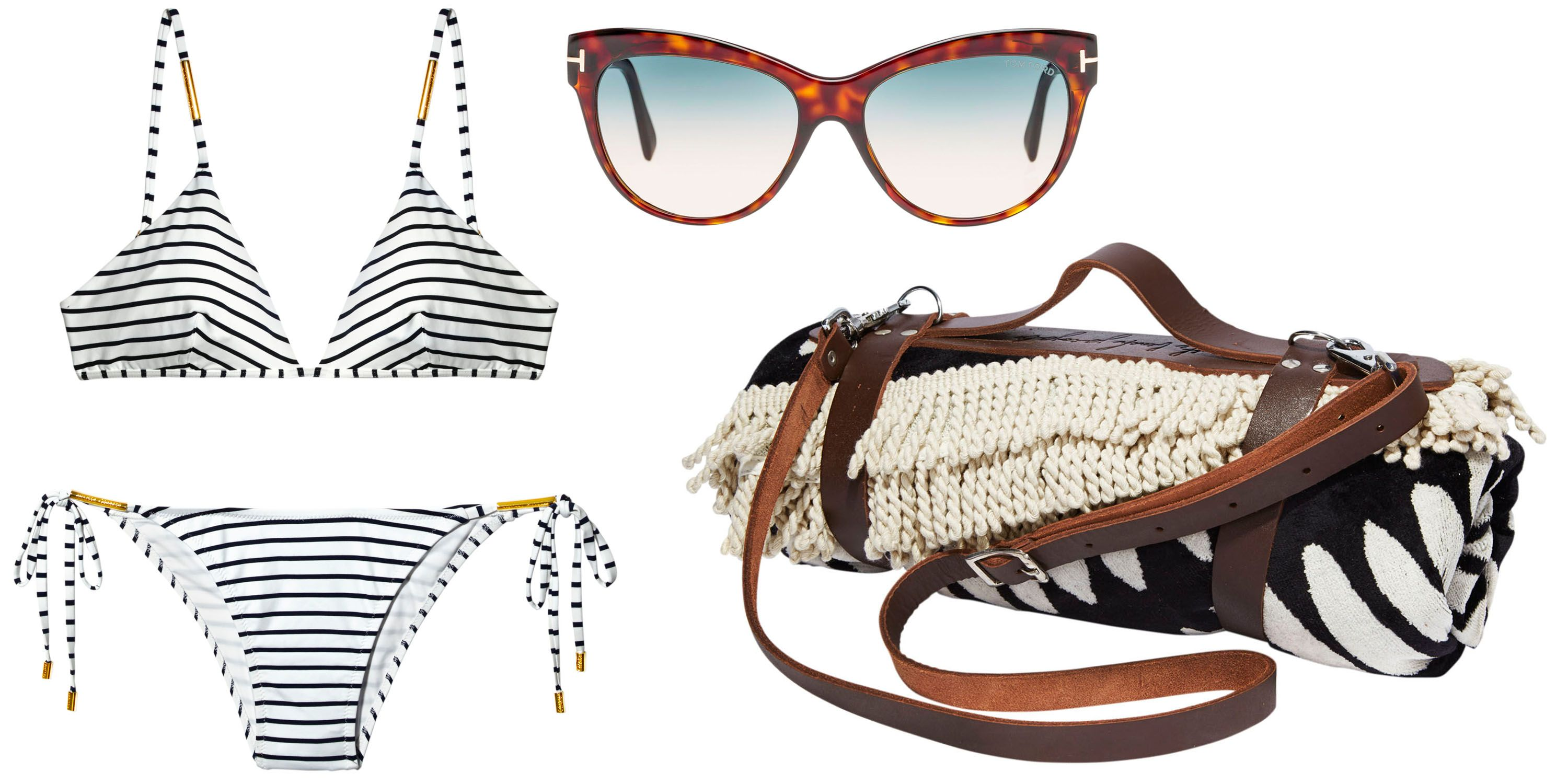"<p>""The Beach People round towel and leather carrier, Tom Ford sunglasses, and a Melissa Odabash striped bikini.""</p><p><strong>Melissa Odabash </strong>bikini, $234, <a href=""http://www.shopbop.com/"">shopbop.com</a>&#x3B; <strong>Tom Ford</strong> sunglasses, $390, 888-TOM-FORD<span class=""redactor-invisible-space"">&#x3B; <strong>The Beach People </strong>towel, $110, and leather carrier, $39, Bergdorf Goodman&#x3B; 888-774-2424.<span class=""redactor-invisible-space""></span></span></p>"