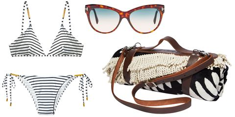 "<p>""The Beach People round towel and leather carrier, Tom Ford sunglasses, and a Melissa Odabash striped bikini.""</p><p><strong>Melissa Odabash </strong>bikini, $234, <a href=""http://www.shopbop.com/"">shopbop.com</a>; <strong>Tom Ford</strong> sunglasses, $390, 888-TOM-FORD<span class=""redactor-invisible-space"">; <strong>The Beach People </strong>towel, $110, and leather carrier, $39, Bergdorf Goodman; 888-774-2424.<span class=""redactor-invisible-space""></span></span></p>"
