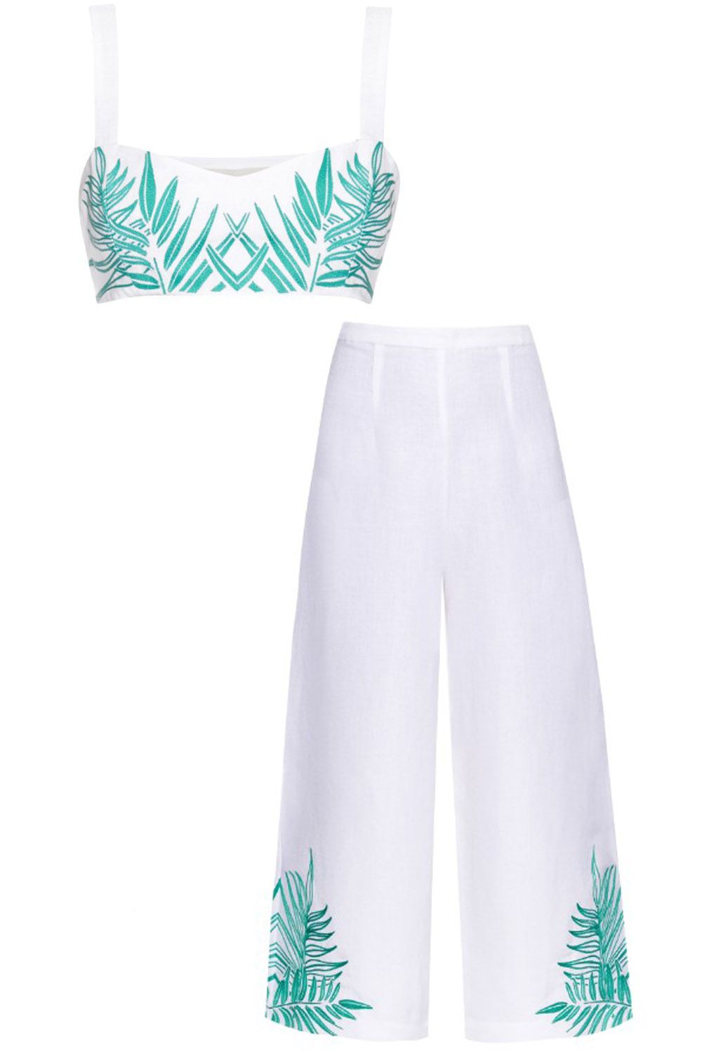 "<p><strong>Mara Hoffman</strong> <a href=""http://www.matchesfashion.com/us/products/Mara-Hoffman-Palm-embroidered-cropped-top-1052869"" target=""_blank"">crop top</a>, $212, and culottes, $365, <a href=""http://www.matchesfashion.com/us/products/Mara-Hoffman-Palm-embroidered-linen-blend-culottes--1035908"" target=""_blank"">matchesfashion.com</a><a href=""http://www.matchesfashion.com/us/products/Mara-Hoffman-Palm-embroidered-linen-blend-culottes--1035908""></a>.</p>"