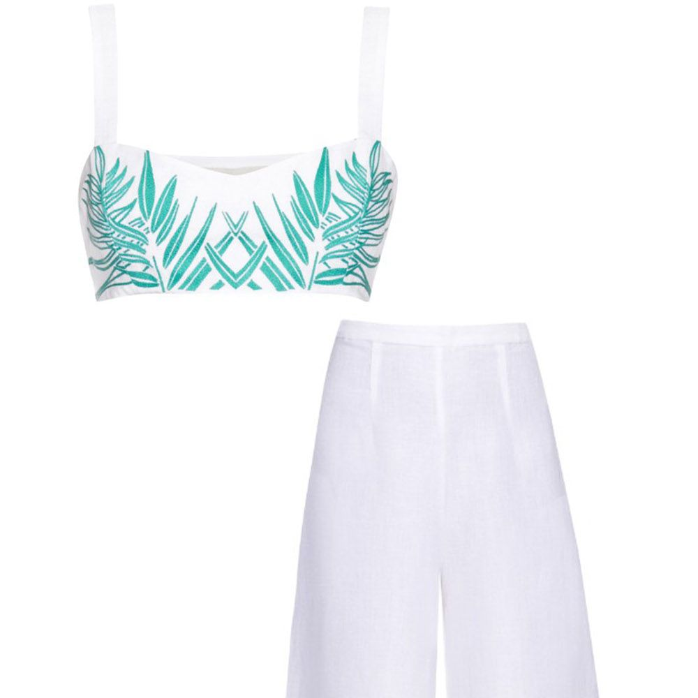 """<p><strong>Mara Hoffman</strong> <a href=""""http://www.matchesfashion.com/us/products/Mara-Hoffman-Palm-embroidered-cropped-top-1052869"""" target=""""_blank"""">crop top</a>, $212, and culottes, $365, <a href=""""http://www.matchesfashion.com/us/products/Mara-Hoffman-Palm-embroidered-linen-blend-culottes--1035908"""" target=""""_blank"""">matchesfashion.com</a><a href=""""http://www.matchesfashion.com/us/products/Mara-Hoffman-Palm-embroidered-linen-blend-culottes--1035908""""></a>.</p>"""
