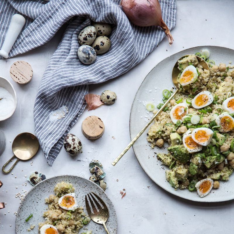 """<p><a href=""""http://localmilkblog.com/2016/02/expecting-eats-chickpea-quinoa-salad-with-miso-lemon-vinaigrette.html"""" target=""""_blank"""">Chickpea and Quinoa Salad with Miso Vinaigrette</a> </p><p>By Beth Kirby of <a href=""""http://localmilkblog.com/"""" target=""""_blank"""">Local Milk</a></p><p><strong>Ingredients:</strong></p><ul><li>1 cup dried chickpeas (garbanzo beans), soaked overnight (or 1 organic, low sodium can drained & rinsded in a pinch but dried is highly preferable)</li><li>2 cups cooked quinoa (3/4 cup well-rinsed uncooked + 1.5 cups water + ¼ teaspoon kosher salt)</li><li>5 soft boiled quail egg halved (2.5 minutes in boiling water) or 4 soft boiled chicken eggs quartered (6 minutes in boiling water)</li><li>juice of one meyer lemon (or regular lemon)</li><li>1 tablespoon olive oil</li><li>1 tablespoon white miso paste</li><li>1 teaspoon honey</li><li>1/8 teaspoons cayenne</li><li>1/8 teaspoon cumin</li><li>1 ripe avocado, diced</li><li>4-6 scallions, sliced thinly</li><li>½ teaspoon fresh, course ground coriander</li><li>sea salt & freshly ground black pepper to taste</li></ul><p><strong>Directions:</strong></p><ul><li>You will want to soak your chickpeas the night before you intend to make them. My tip is to soak and cook more than you need for the recipe and refrigerate or freeze the rest.</li><li>When ready to cook your chickpeas, drain them, place them in a large pot and cover with a good few inches of water. do not salt the water as this can make them less tender.</li><li>Bring the pot to a boil, reduce to a simmer, and cook 1 hour to 1.5 hours or until tender. (I cook longer for hummus, less long for soups, salads, etc.)</li><li>Drain and cool the cooked beans. You can store them in a ziplock or other container for 3-4 days in the fridge or in the freezer (pat dry, freeze in single layer on parchment lined sheet tray for 30 min, then bag) for one year!</li><li>While the chickpeas cook, cook the quinoa if you haven't already (can be made the day before) by br"""