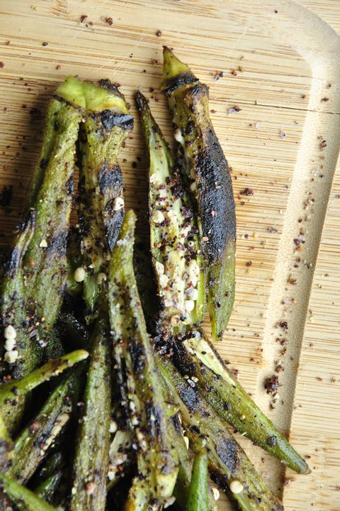 "<p><a href=""http://blog.sanuraweathers.com/2015/04/whats-not-to-like-about-okra/"" target=""_blank"">Blueberry-Coffee Spice Grilled Okra</a> </p><p>By Sanura Weathers of <a href=""http://blog.sanuraweathers.com/"" target=""_blank"">My Life Runs on Food</a><br></p><p><strong>Ingredients: <br></strong></p><ul> <li>1 lb. fresh okra pods, gently scrubbed cleaned</li> <li>4 tbsp. of peanut or neutral oil</li> <li>About ¼ cup Blueberry-Coffee Spice Rub (or use blackened seasoning), plus more for garnish</li> <li>A pinch of sea salt, to taste</li> <li>A pinch of fresh black pepper, to taste</li> </ul><p><strong>Directions:</strong></p><ul> <li>Fill a medium pot with salted water and bring to a boil. Add okra pods to blanch for about one minute. Quickly remove from pot. Rinse with cold water and strain excess water.</li> <li>In a large bowl, toss blanched okra with two tablespoons of oil, Blueberry-Coffee Spice Rub, salt and black pepper.</li> <li>Meanwhile, prepare an outdoor or indoor grill. If using indoor grill, heat over medium-high heat.</li> <li>When the grill pan is hot, add the last two tablespoons of oil. After a few seconds, add the seasoned okra pods. Grill for about three minutes per side. Remove onto a paper-towel lined plate.</li> <li>Vertically slice each grilled okra pod. Garnish with a little sprinkling of Blueberry-Coffee Spice Rub.</li> <li>Enjoy.</li> </ul>"