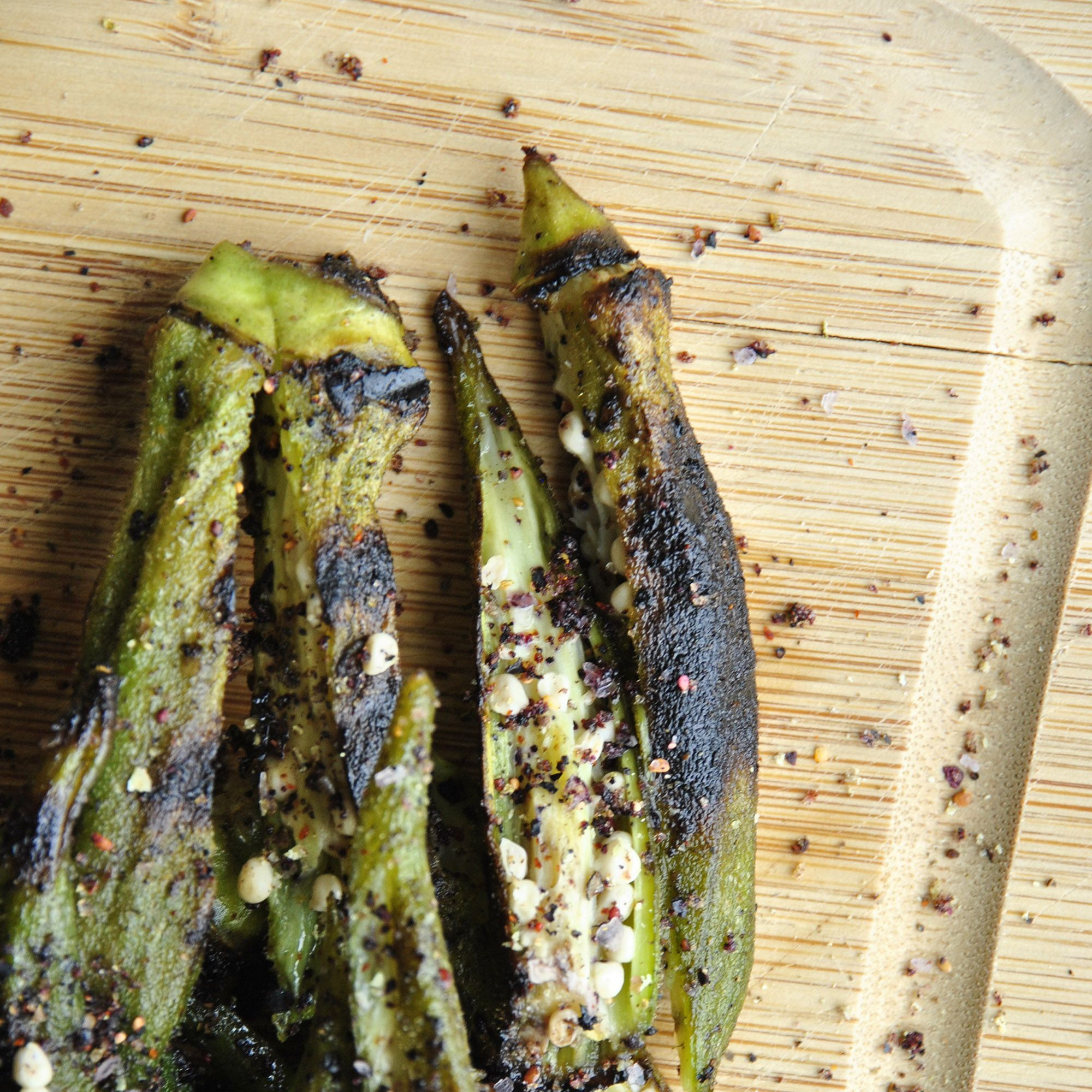 """<p><a href=""""http://blog.sanuraweathers.com/2015/04/whats-not-to-like-about-okra/"""" target=""""_blank"""">Blueberry-Coffee Spice Grilled Okra</a> </p><p>By Sanura Weathers of <a href=""""http://blog.sanuraweathers.com/"""" target=""""_blank"""">My Life Runs on Food</a><br></p><p><strong>Ingredients: <br></strong></p><ul><li>1 lb. fresh okra pods, gently scrubbed cleaned</li><li>4 tbsp. of peanut or neutral oil</li><li>About ¼ cup Blueberry-Coffee Spice Rub (or use blackened seasoning), plus more for garnish</li><li>A pinch of sea salt, to taste</li><li>A pinch of fresh black pepper, to taste</li></ul><p><strong>Directions:</strong></p><ul><li>Fill a medium pot with salted water and bring to a boil. Add okra pods to blanch for about one minute. Quickly remove from pot. Rinse with cold water and strain excess water.</li><li>In a large bowl, toss blanched okra with two tablespoons of oil, Blueberry-Coffee Spice Rub, salt and black pepper.</li><li>Meanwhile, prepare an outdoor or indoor grill. If using indoor grill, heat over medium-high heat.</li><li>When the grill pan is hot, add the last two tablespoons of oil. After a few seconds, add the seasoned okra pods. Grill for about three minutes per side. Remove onto a paper-towel lined plate.</li><li>Vertically slice each grilled okra pod. Garnish with a little sprinkling of Blueberry-Coffee Spice Rub.</li><li>Enjoy.</li></ul>"""
