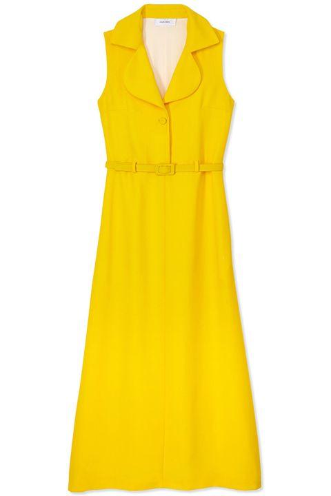 Yellow, Collar, Sleeve, Textile, Dress, Orange, Formal wear, One-piece garment, Pattern, Fashion,