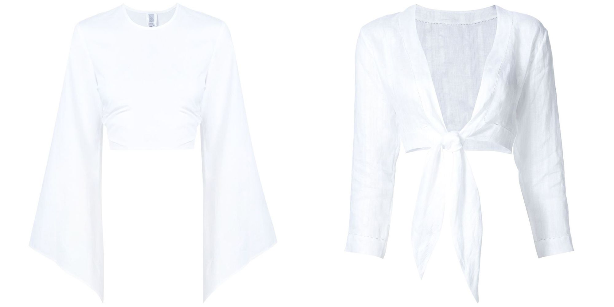 """<p>From bell-sleeve to tie-waist, the white crop top is your anything-but-basic summer basic. </p><p><em><br></em></p><p><em><strong>Rosie Assoulin</strong> top, $795, <strong><a href=""""https://shop.harpersbazaar.com/designers/r/rosie-assoulin/poplin-bell-top-9161.html"""" target=""""_blank"""">shopBAZAAR.com</a></strong>; <strong>Lisa Marie Fernandez </strong>blouse, $415, <strong><a href=""""https://shop.harpersbazaar.com/designers/l/lisa-marie-fernandez/tie-voile-blouse-9156.html"""" target=""""_blank"""">shopBAZAAR.com</a></strong></em><em>.</em><br></p>"""
