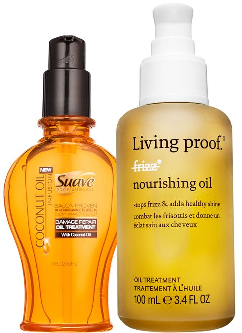 """<p>""""Oils are great for restoring moisture to hair that's been fried by chlorine or the sun,"""" says Scrivo. """"Just a few drops can prevent humidity-induced frizz,"""" adds Suave stylist Jenny Cho. Good pick: <a href=""""http://www.walmart.com/ip/TRESemme-Botanique-Damage-Recovery-Oil-Elixer-3.3-fl-oz/49840590"""" target=""""_blank"""">Tresemmé Botanique Damage Recovery Oil Elixir</a> ($5).</p><p><strong>Suave Professionals</strong> Coconut Oil Infusion Damage Repair Oil, $4.99, <a href=""""http://www.suave.com/product/detail/1073133/coconut-oil-infusion-damage-repair-oil-treatment"""" target=""""_blank"""">suave.com</a>&#x3B; <strong>Living Proof </strong>No Frizz Nourishing Oil, $38, <a href=""""http://www.ulta.com/ulta/browse/productDetail.jsp?productId=xlsImpprod4440047&skuId=2247942&cmpid=PS_Non!google!Product_Listing_Ads&cagpspn=pla&CAWELAID=1402643451&catargetid=330000200000563824&cadevice=c&gclid=Cj0KEQjw09C5BRDy972s6q2y4egBEiQA5_guv7P20iaLvmbE5EQmeJ0uK0J18ayY9CIYT86INPr_9QcaAlF_8P8HAQ"""" target=""""_blank"""">ulta.com</a>. </p>"""