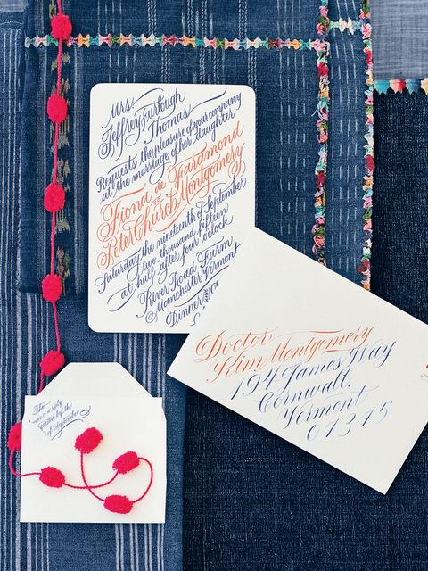 "<p>Bold red and deep indigo invitations, calligraphed by <a href=""http://annepages.blogspot.com/"" target=""_blank"" tabindex=""-1"">Anne Elser</a>, were printed by <a href=""http://voteforletterpress.com/"" target=""_blank"" tabindex=""-1"">Vote for Letterpress</a>.</p>"
