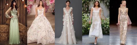 "<p>Florals are no stranger to the bridal world, but this season's bold take on blooms were typically featured in delicate pastel threadwork, appliqués, beadwork and prints. In cases where the theme wasn't literally embroidered, the silhouettes did the talking, employing three-dimensional floral embellishments or silhouettes that begged for a splendor-in-the-grass photo-op.  On the hunt for a look to suit an outdoor affair? Look no further than these fresh picks.</p><p><em>From left: <a href=""http://JennyPackham.com"" target=""_blank"">Jenny Packham</a>; <a href=""http://inesdisanto.com"" target=""_blank"">Ines di Santo</a>; <a href=""http://instagram.com/marchesafashion"" target=""_blank"">Marchesa</a>; <a href=""https://www.moniquelhuillier.com/"" target=""_blank"">Monique Lhuillier</a>; </em><a href=""http://naeemkhan.com"" target=""_blank""><em>Naeem Khan</em></a></p>"