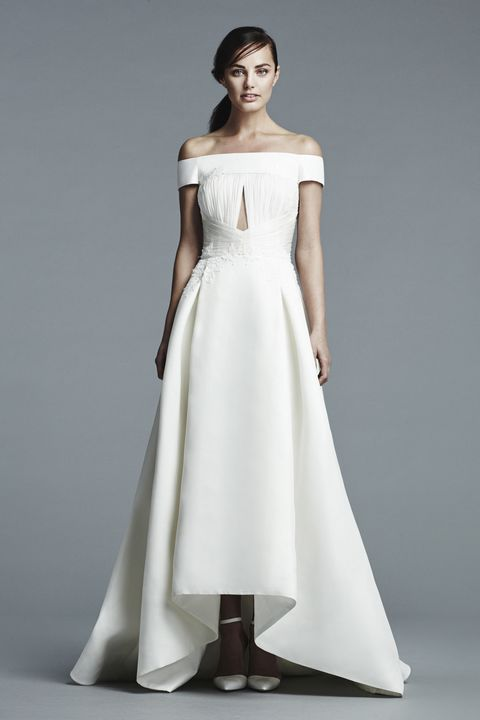 Clothing, Sleeve, Dress, Shoulder, Textile, Standing, Bridal clothing, Photograph, Joint, White,