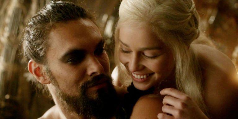 Jason Momoa Cheers On Emilia Clarke Of Thrones Khal Drogo Daenerys Targaryen Scene