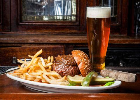 Beer, Food, Barware, Tableware, Fried food, Cuisine, Beer glass, Alcoholic beverage, Alcohol, Drinkware,