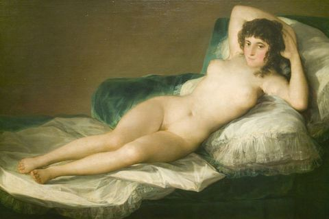<p>Goya's Nude Maja, confident in her nakedness as she unashamedly gazes out at the viewer, is infamous for her direct confrontation.  Rumored to be a portrait of Goya's own mistress, this painting was commissioned for the private boudoir of a wealthy patron, hidden from the public eye. But when discovered, this erotically-charged masterpiece shocked audiences at the time and paved the way for the transgressive, boundary-pushing ethos of Modern Art.</p>