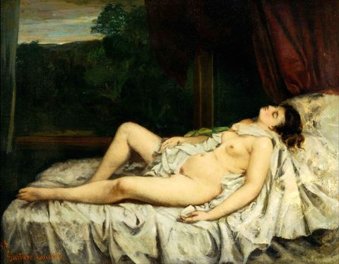 "<p>When asked to make a painting of an angel, Gustave Courbet, the father of Realism, famously said, ""I have never seen angels.  Show me one and I will paint one.""  Courbet's nude is totally different from the flawless Venuses that populated canvases in the 1800s—rather she is totally real down to her rumpled stockings, non-idealized proportions, and unkempt armpit hair.  This daring emphasis on reality paved the way for the Impressionists like Monet to see the world through their own eyes rather than attempt for perfect illusionism.</p>"