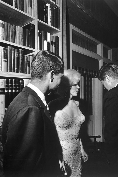 <p>The Old Hollywood actress highlighted her famed curves in a barely there, bedazzled dress as she visited The White House in 1962 to sing 'Happy Birthday' to President Kennedy. </p>