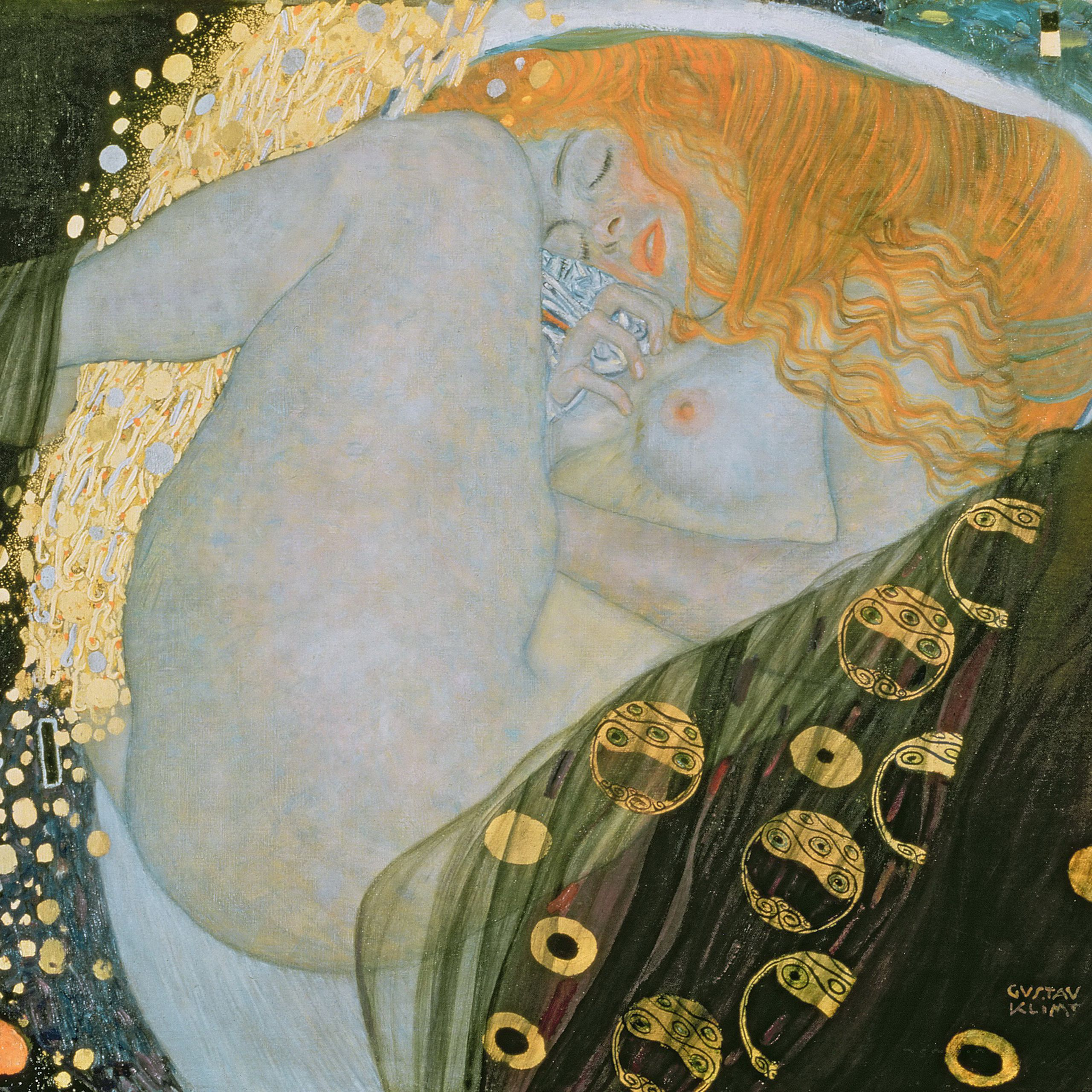 <p>A virtuosic fusion of bright gold and luxurious red pigment, Klimt's <em>Danae</em> is one of the most beautiful paintings from the Viennese Symbolist movement.  Portraying the classical princess as she is visited by Zeus as a shower of gold, <em>Danae</em> is as sensuous as a work on canvas can get.</p>