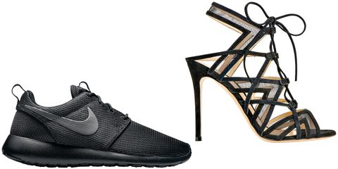 "<p>""Black heels and a great pair of running shoes.""</p><p><strong><br></strong></p><p><strong>Nike</strong> Roshe One sneaker, $75, <a href=""http://www.nike.com/"" target=""_blank"">nike.com</a>; <strong>Gianvito Rossi </strong>sandal, $1,145, Neiman Marcus, 888-888-4757. </p>"