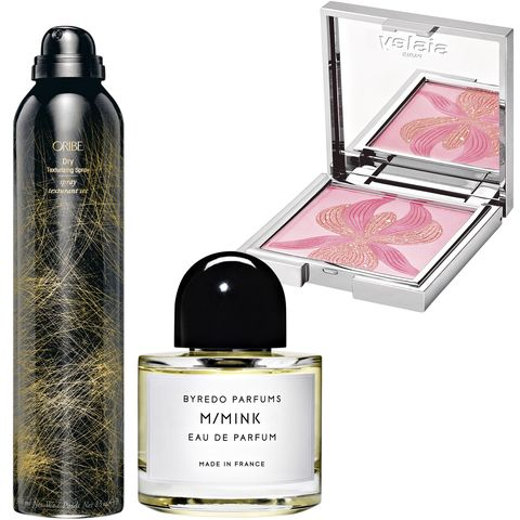 "<p>""Sisley blush, Oribe texturizing spray, and M/Mink by Byredo—their scents smell like places and memories.""<strong></strong></p><p><strong><br></strong></p><p><strong>Oribe</strong> Dry Texturizing Spray, $44, <a href=""http://www.oribe.com/"" target=""_blank"">oribe.com</a>; <strong>Byredo</strong> M/Mink Eau de Parfum, $230, <a href=""http://www.byredo.com/"" target=""_blank"">byredo.com</a>; <strong>Sisley Paris</strong> L'Orchidée Rose Highlighting Blush, $110, <a href=""http://www.sisley-paris.com/"" target=""_blank"">sisley-paris.com</a>.</p>"