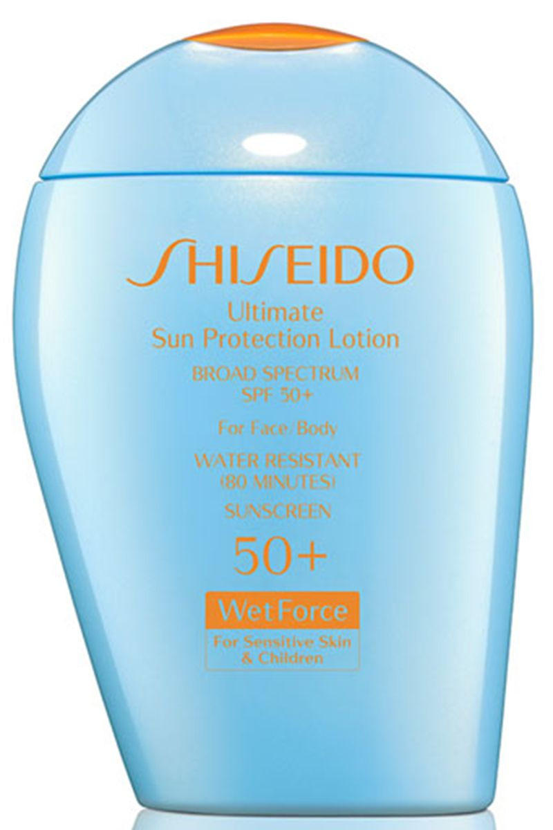 "<p>Perfect for tossing in your straw tote on a weekend getaway, this sunscreen won't irritate even the most sensitive-skinned in your family, including the kids.<br></p><p><strong>Shiseido</strong> Ultimate Sun Protection Lotion SPF 50+, $42, <a href=""http://www.shiseido.com/ultimate-sun-protection-lotion-wetforce/0730852119543,en_US,pd.html&q=sunscreen&"">shiseido.com</a><br></p>"